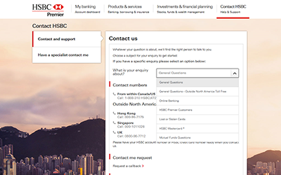 Supplementary image for Step 2 on finding the contact number you need to contact HSBC as mentioned above.
